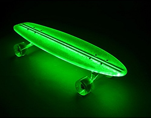 Flexdex Blue Light up LED Transparent 29in Skateboard
