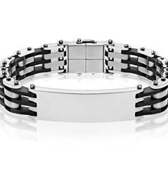 Men's Stainless Steel and Rubber ID Bracelet
