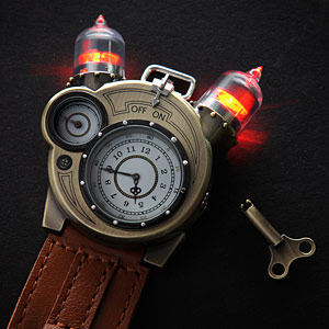 Steampunk-styled Tesla analog watch 2