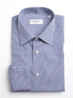 Yves Saint Laurent navy and white mini check cotton point collar dress shirt