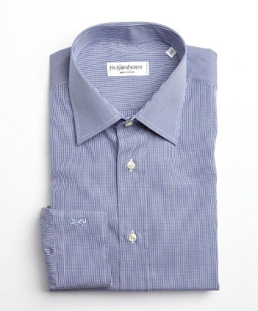 Yves saint laurent navy and white mini check cotton point for Saint laurent check shirt